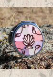 Shell Speck Compact Mirrors Round or Square for Sale featuring Seashell on Pink Peach Mauve. The Art of Wendy Christine.
