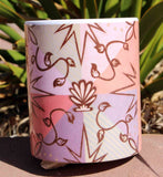 Buy Beautiful Peach Coffee Cup with Southwest Beach Art at Raspberry Lane Crafts.  The Art of Wendy Christine