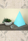 Sky blue colored paper pyramid for sale sacred geometry at Raspberry Lane Crafts