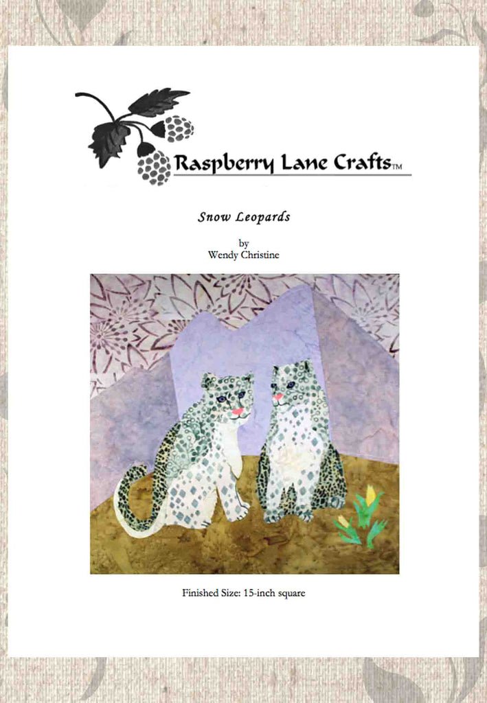 Snow Leopards quilt block pattern digital download for sale at Raspberry Lane Crafts
