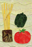 Dry spaghetti, green pepper, and tomato on Italian placemat in Dinner On Us Placemats pattern at Raspberry Lane Crafts.  Buy Purchase for Sale Retail and Wholesale Pricing Pricepoint www.raspberrylanecrafts.com