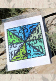 Spanish Jewel Southwest art print with green and blue for sale 8 x 8 inches