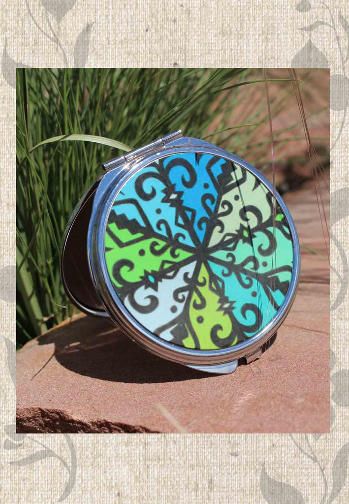 Round Compact Mirrors Spanish Jewel are green and blue with Southwest design.  For Sale from The Art of Wendy Christine