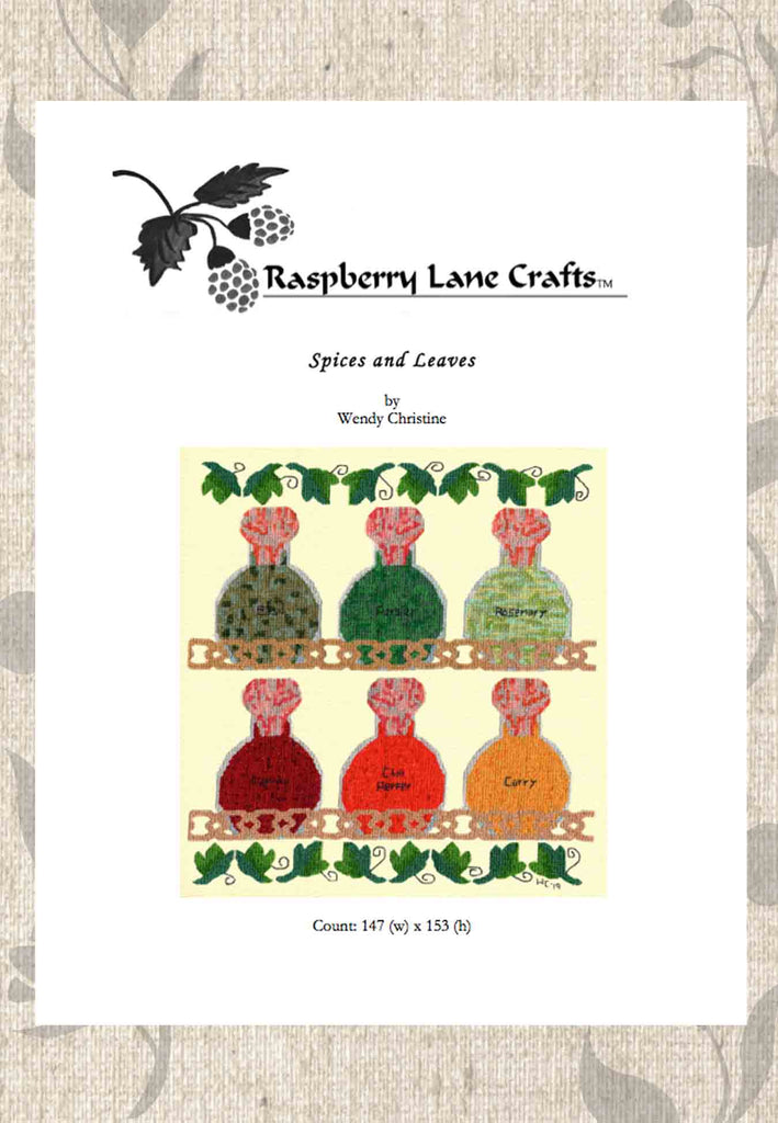 Spices and Leaves Cross Stitch Pattern Download for Sale Spice Rack Digital E-Pattern from Raspberry Lane Crafts