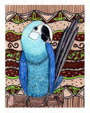 Blue parrot art print for sale 8 x 10 inches at Raspberry Lane Crafts