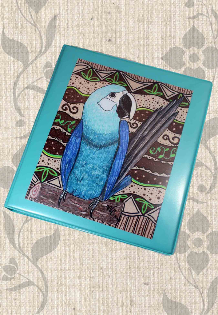 Buy Blue Parrot 3-Ring Binder at Raspberry Lane Crafts.  Find Purchase.  The Art of Wendy Christine