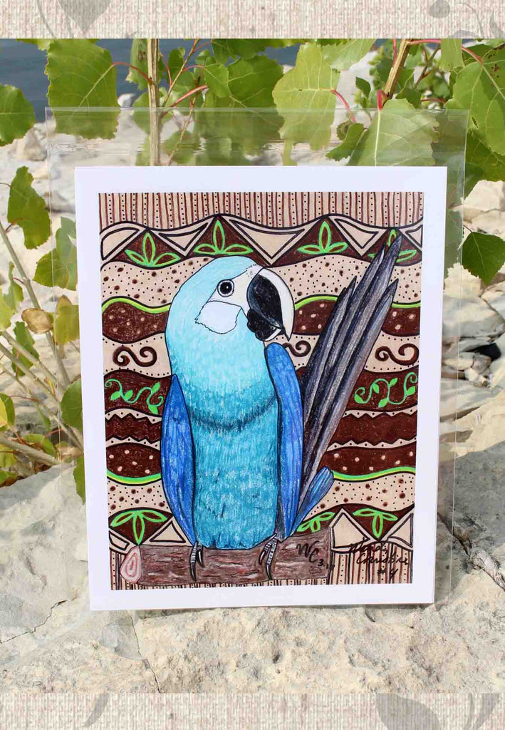 Blue Parrot Spix's Macaw Art Print by Wendy Christine for Sale at Raspberry Lane Crafts.