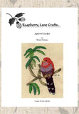 Find Tropical Birds Cross-Stitch Patterns at Raspberry Lane Crafts.  Pictured is Squirrel Cuckoo Bird Cross-Stitch Pattern.  For Sale.