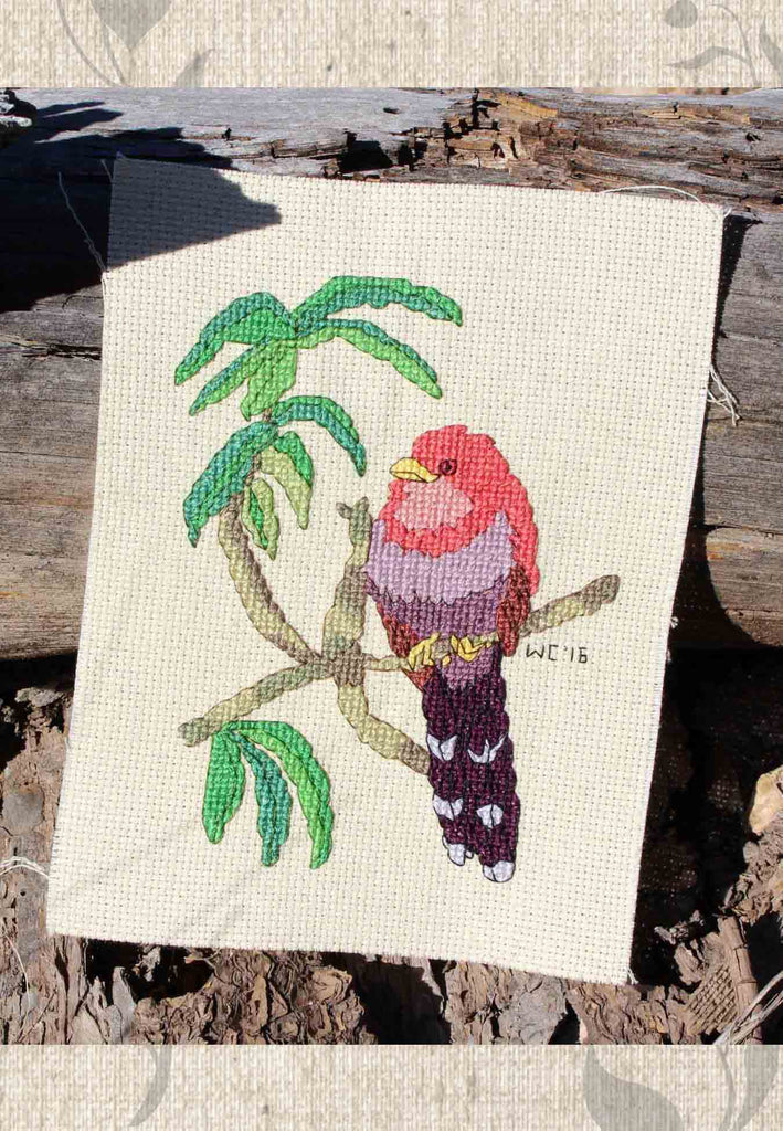 Buy Tropical Birds Cross Stitch Patterns like Squirrel Cuckoo at Raspberry Lane Crafts