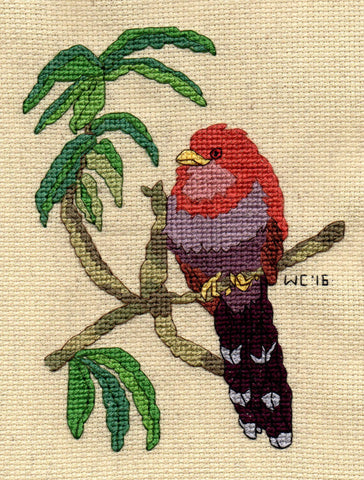 Squirrel Cuckoo Bird Cross Stitch Pattern