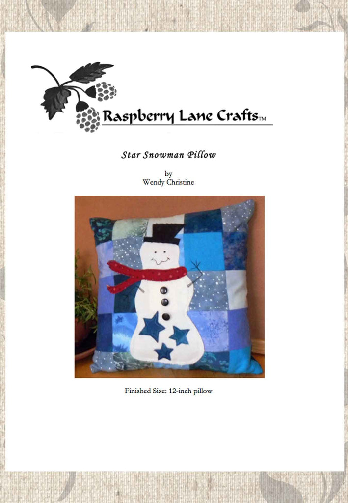 Winter Snowman Pillow for Holidays Download Pattern for Sale No Shipping at Raspberry Lane Crafts