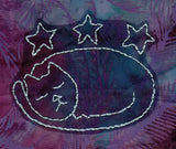 Buy sleeping cat embroidery design pattern with stars