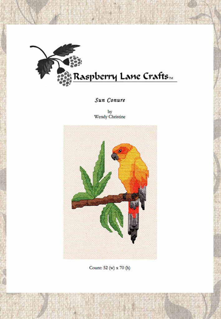 Buy parrot cross stitch pattern download Sun Conure Yellow Parrot.