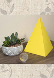 Large 11 inch yellow energy paper pyramid decoration for Sale at Raspberry Lane Crafts