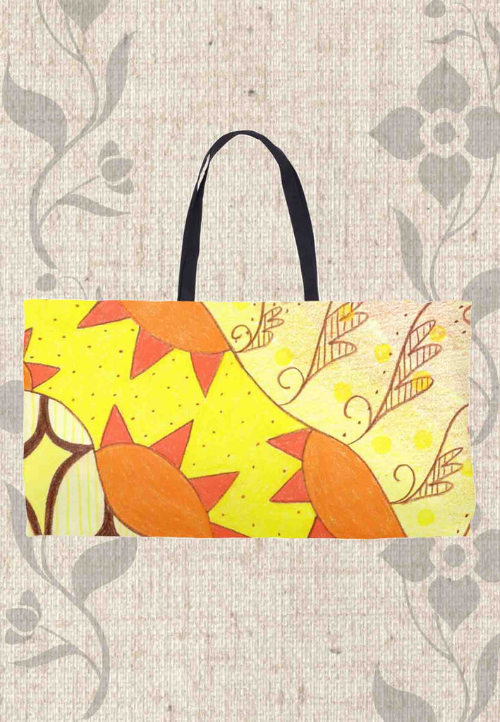 Yellow Sunburst Weekender Bags for Sale at Raspberry Lane Crafts.  The Art of Wendy Christine