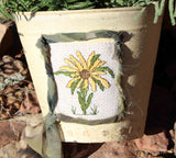 Buy Sunflower plant holder cross stitch pattern at Raspberry Lane Crafts designed by Wendy Christine.  Part of the Antique Flower Collection.