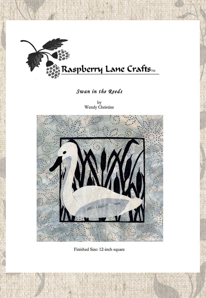 Swan in the Reeds quilt pattern download for sale by Wendy Christine