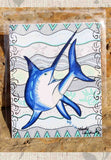Swordfish Art Print Ocean Sea Fish Find for Sale Signed by Artist Wendy Christine