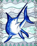 Swordfish art print by Wendy Christine at Raspberry Lane Crafts for sale.
