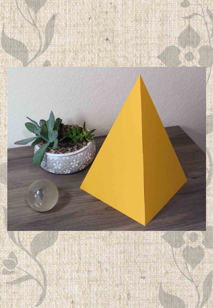 Large Tangerine Orange paper pyramid to have sacred geometry working in your home now.