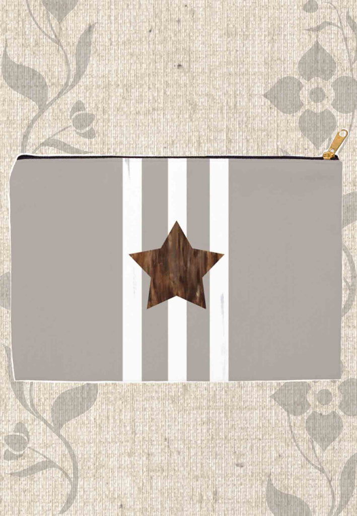 Brown Gray Zipper Bag with Brown Star and White Stripes for Sale