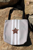 Sporty tote bags for sale at Raspberry Lane Crafts.  Taupe Star Tote Bags.