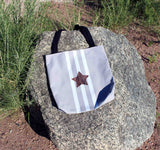 Brown star with white stripes on gray tote bags for sale at Raspberry Lane Crafts.