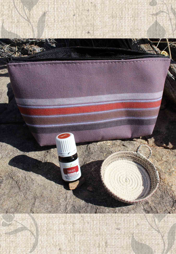 Essential Oil Thieves Brown Zipper Bag and Artisanal Basket Gift Set for Sale at Raspberry Lane Crafts