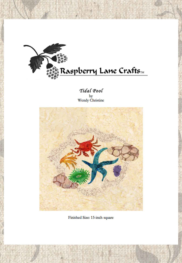 Tidal pool quilt block pattern download for sale at Raspberry Lane Crafts Features shore crab, rocked, sea star, limpet and anemone