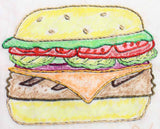 Buy hamburger burger cheeseburger embroidery design pattern download at Raspberry Lane Crafts