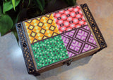 African cross-stitch pattern design for decorative boxes.