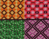 Treasure Box cross stitch completed features a pattern of four blocks of colors coral red, golden yellow, spring green, and violet with brown accents.  Raspberry Lane Crafts buy pattern