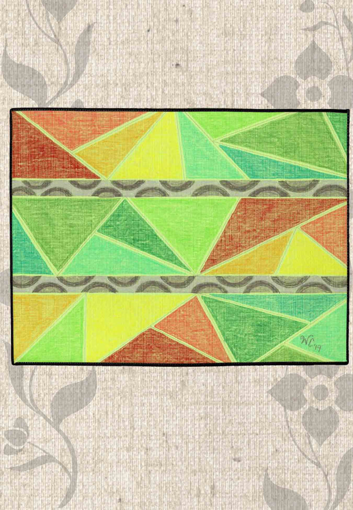 Tunisia Floor Mats Indoor Outdoor feature colorful triangles and leopard spots.  From the Art of Wendy Christine.  For Sale at Raspberry Lane Crafts.