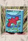 Turquoise blue with red flower art coffee mug cup for sale at Raspberry Lane Crafts.  The Art of Wendy Christine