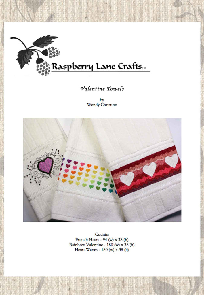 Valentine Towel Cross-Stitch Patterns for Sale at Raspberry Lane Crafts.  Buy Purchase Find Valentine's Day Embroidery Projects!
