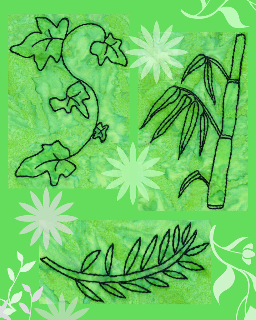 Verdant Leaves Embroidery Design Pattern features bamboo shoot, ivy leaves, and leaf branch outlines.  Buy at Raspberry Lane Crafts. Download