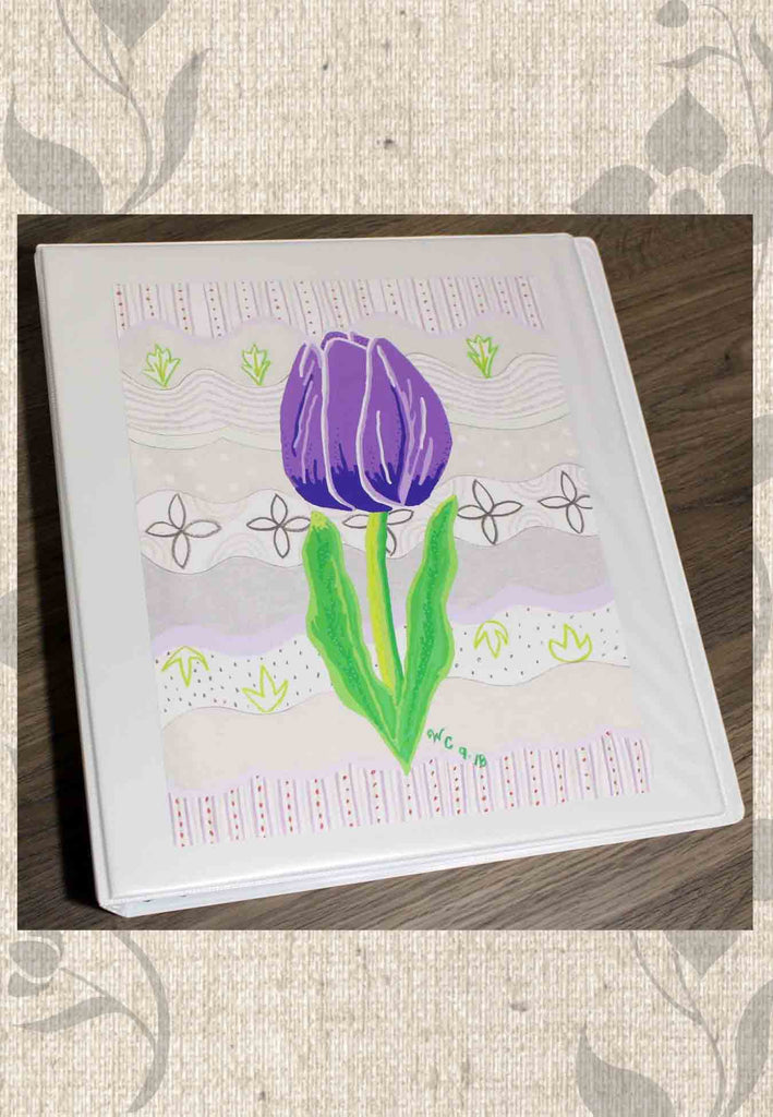 Violet Tulip Art Print in White 3-Ring Binder.  Buy Purchase Find at Raspberry Lane Crafts.  The Art of Wendy Christine