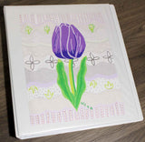 Violet Tulip notebook binder for sale at Raspberry Lane Crafts.  School organizer notebook binder.