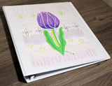 Purple flower notebook binder school college original art print to purchase at Raspberry Lane Crafts.
