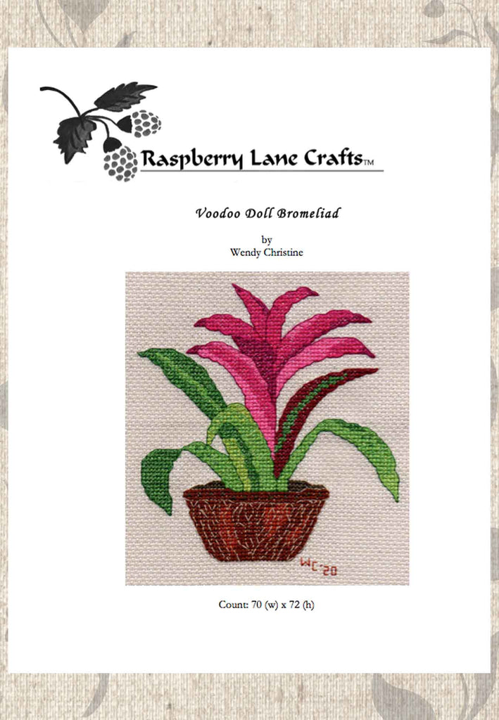 Voodoo Doll Bromeliad Cross Stitch Pattern for Sale Red Purple Flowers