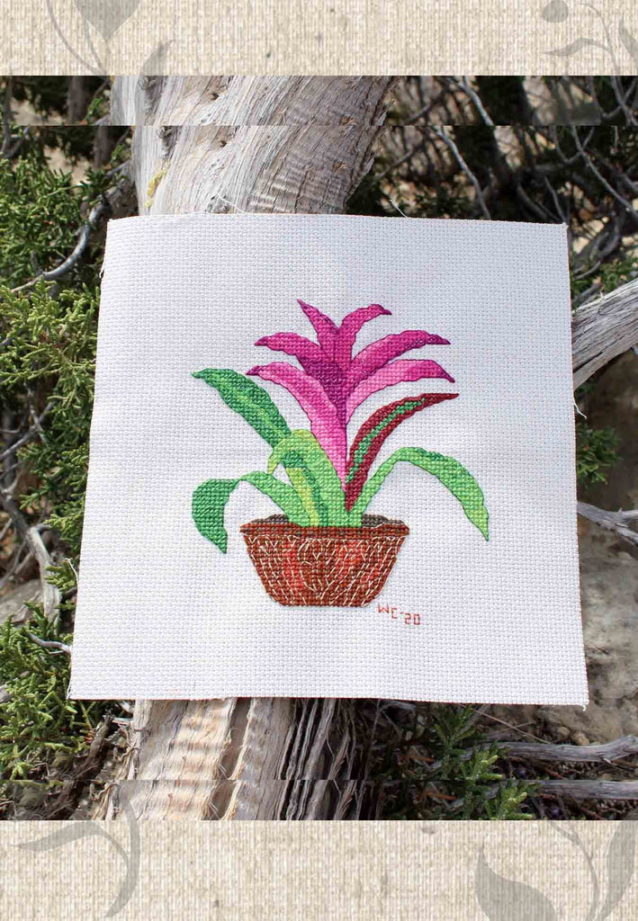 Purple Bromeliad Cross Stitch Pattern Voodoo Doll for Sale at Raspberry Lane Crafts