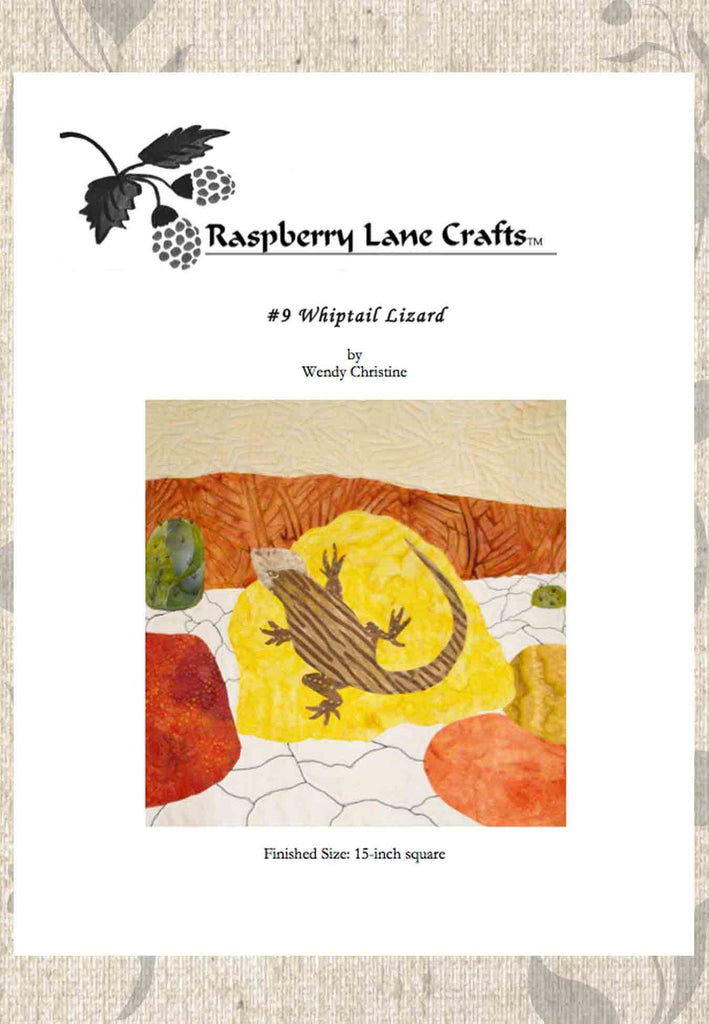 Buy whiptail striped lizard on rocks Southwest quilt pattern download for sale at Raspberry Lane Crafts