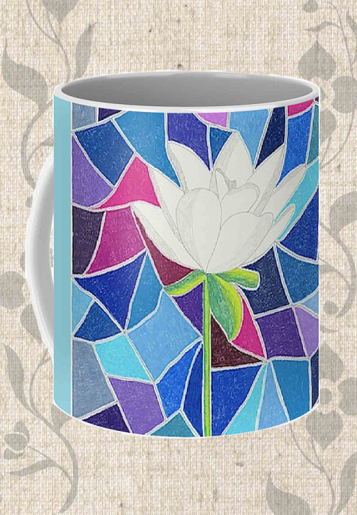 Buy White Lotus with Stained Glass Coffee Mug by Wendy Christine.  Blue mug with white flower.  Find Buy Purchase at Raspberry Lane Crafts.