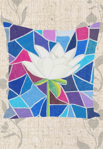 White Lotus with Stained Glass Throw Pillows