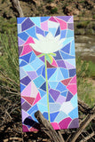 White Lotus with Stained Glass Print on Canvas by Wendy Christine features a white flower on a field of blue and red shades.  For sale at Raspberry Lane Crafts.  The Art of Wendy Christine