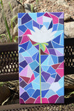 White Lotus Flower on Blue Stained Glass for Sale at Raspberry Lane Crafts