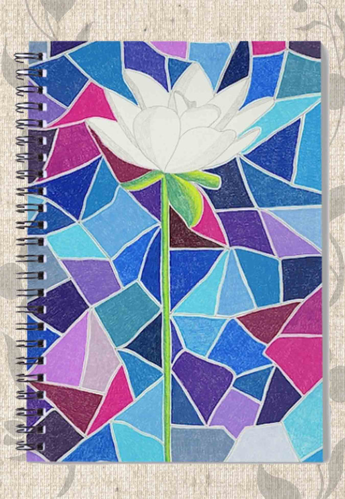 White Lotus Flower on Blue Purple Stained Glass Spiral Notebook.  Art by Wendy Christine.  Buy Purchase Find at Raspberry Lane Crafts.