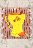 Yellow Tea Mug with Cinnamon and Orange Slice Coasters Set for Sale at Raspberry Lane Crafts
