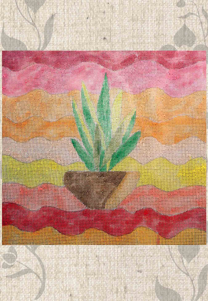 Southwest Yucca Cactus in Pot on Red Orange Yellow Needlepoint Canvas Hand-Painted for Sale from Wendy Christine