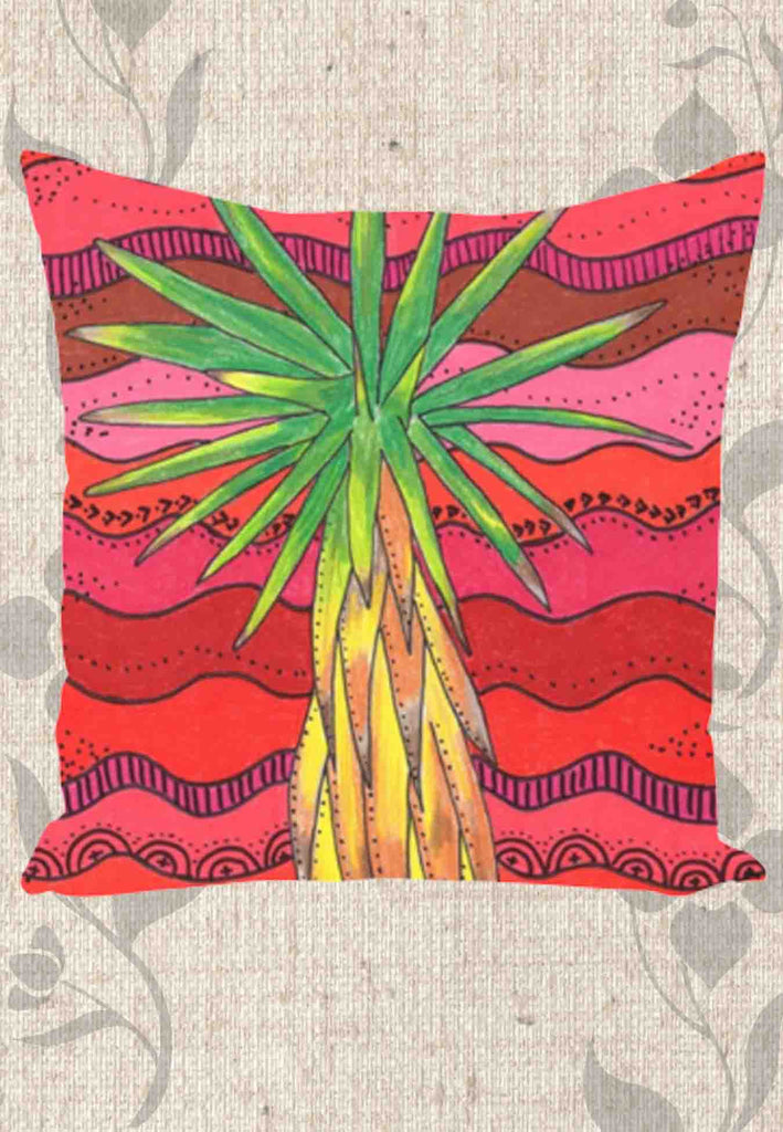 Yucca Tree Cactus Red Throw Pillows in Multiple Sizes Cotton or Polyester for Sale at Raspberry Lane Crafts.